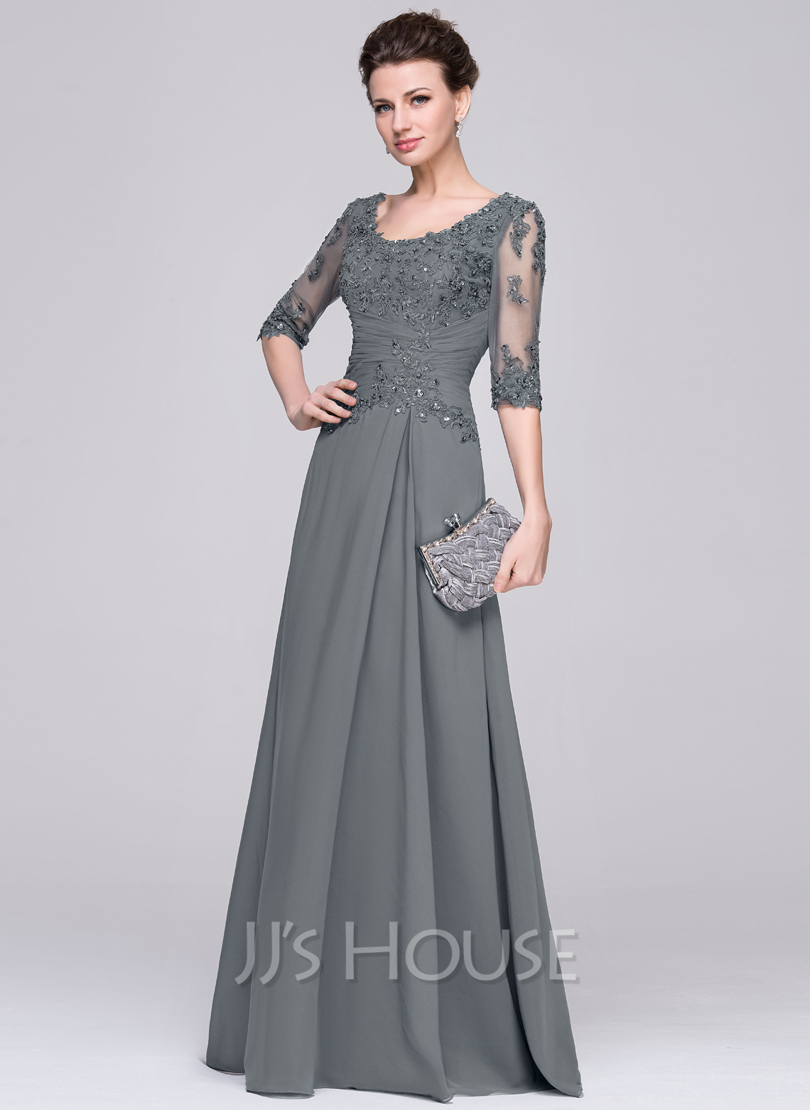 3227143d3c7 A-Line Princess Scoop Neck Floor-Length Chiffon Mother of the Bride Dress.  Loading zoom