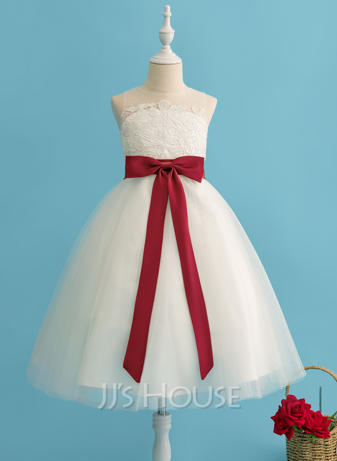 Ball-Gown/Princess Tea-length Flower Girl Dress - Tulle/Lace Sleeveless Scoop Neck With Bow(s) (Undetachable sash)