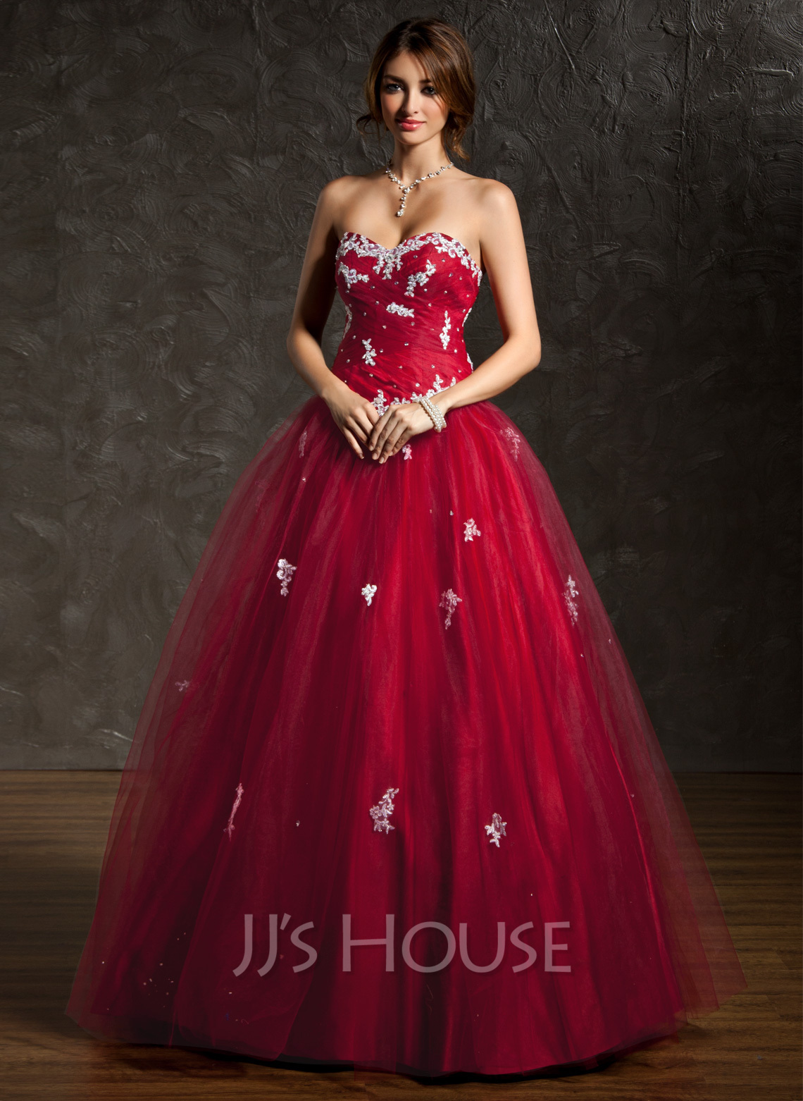 Ball-Gown Sweetheart Floor-Length Tulle Quinceanera Dress With ...