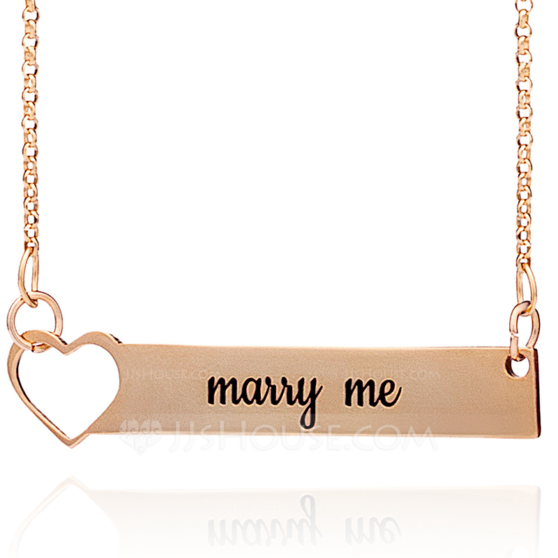 Custom 18k Rose Gold Plated Silver Bar Heart Necklace Engraved Necklace - Christmas Gifts