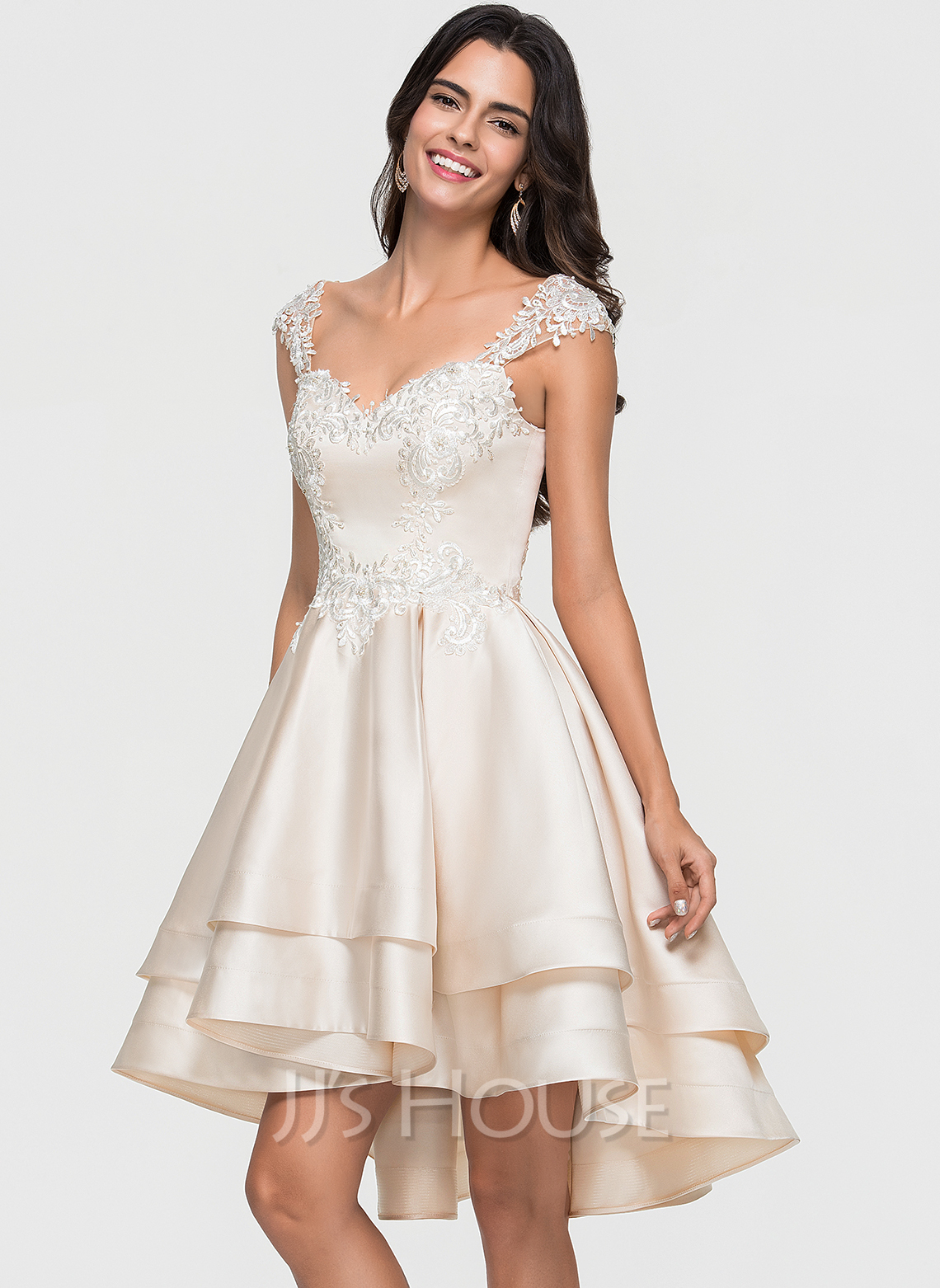 Sweetheart Asymmetrical Satin Prom Dresses With Lace Beading Cascading Ruffles