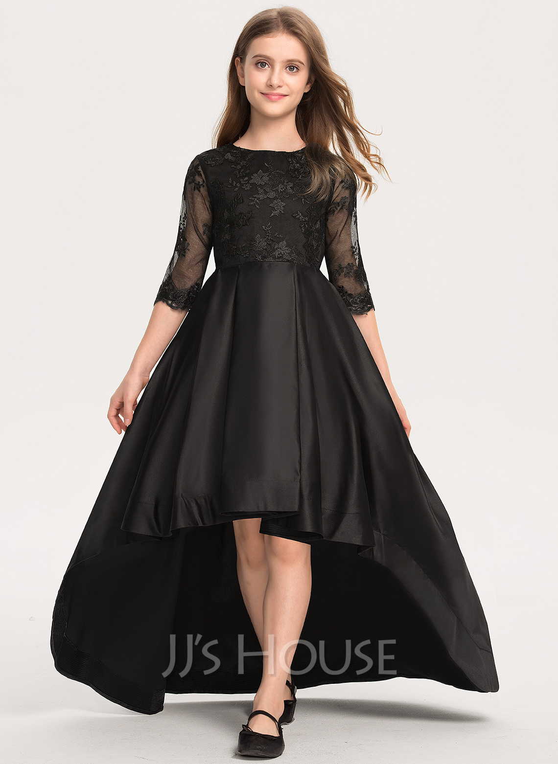 Scoop Neck Asymmetrical Satin Lace Junior Bridesmaid Dress With Ruffle