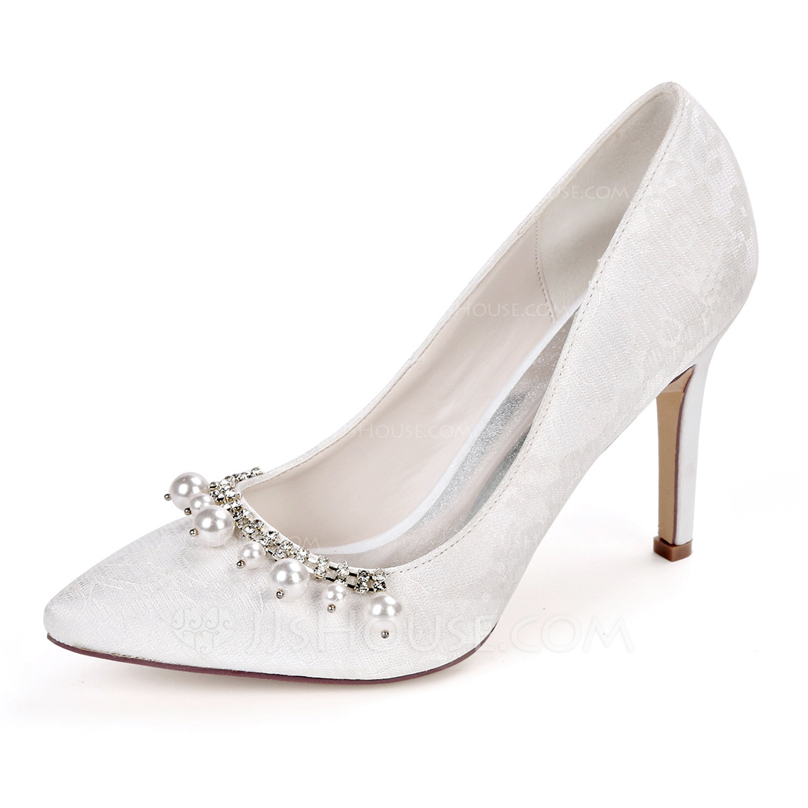 Women's Lace Satin Stiletto Heel Pumps With Pearl