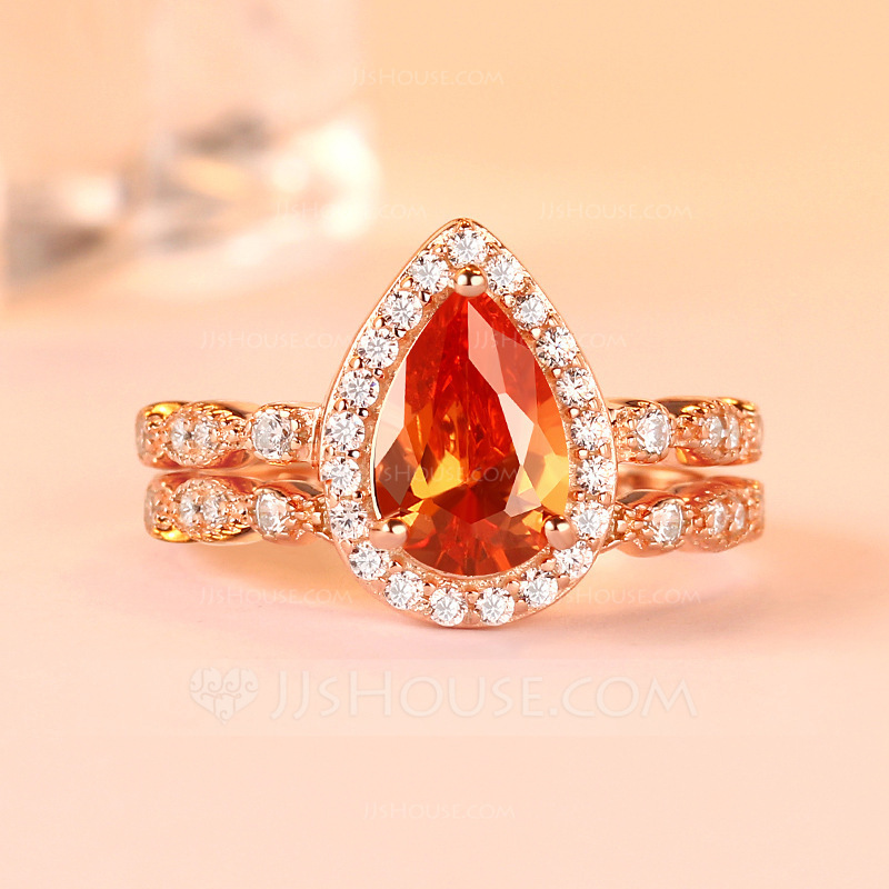 Sterling Silver Cubic Zirconia Halo Vintage Pear Cut Promise Rings Bridal Sets