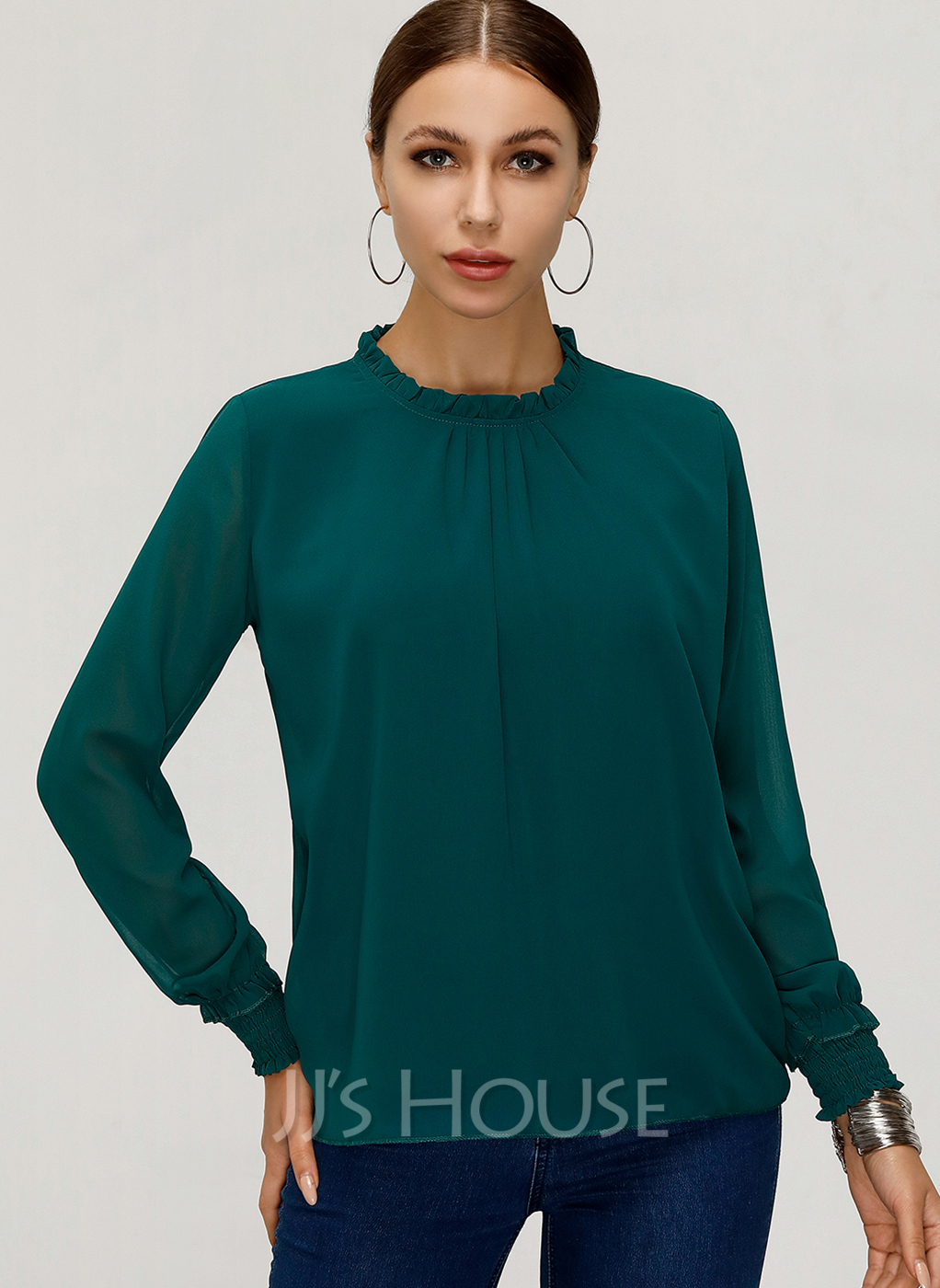 Long Sleeves Chiffon Stand collar Does not include accessories. Blouses