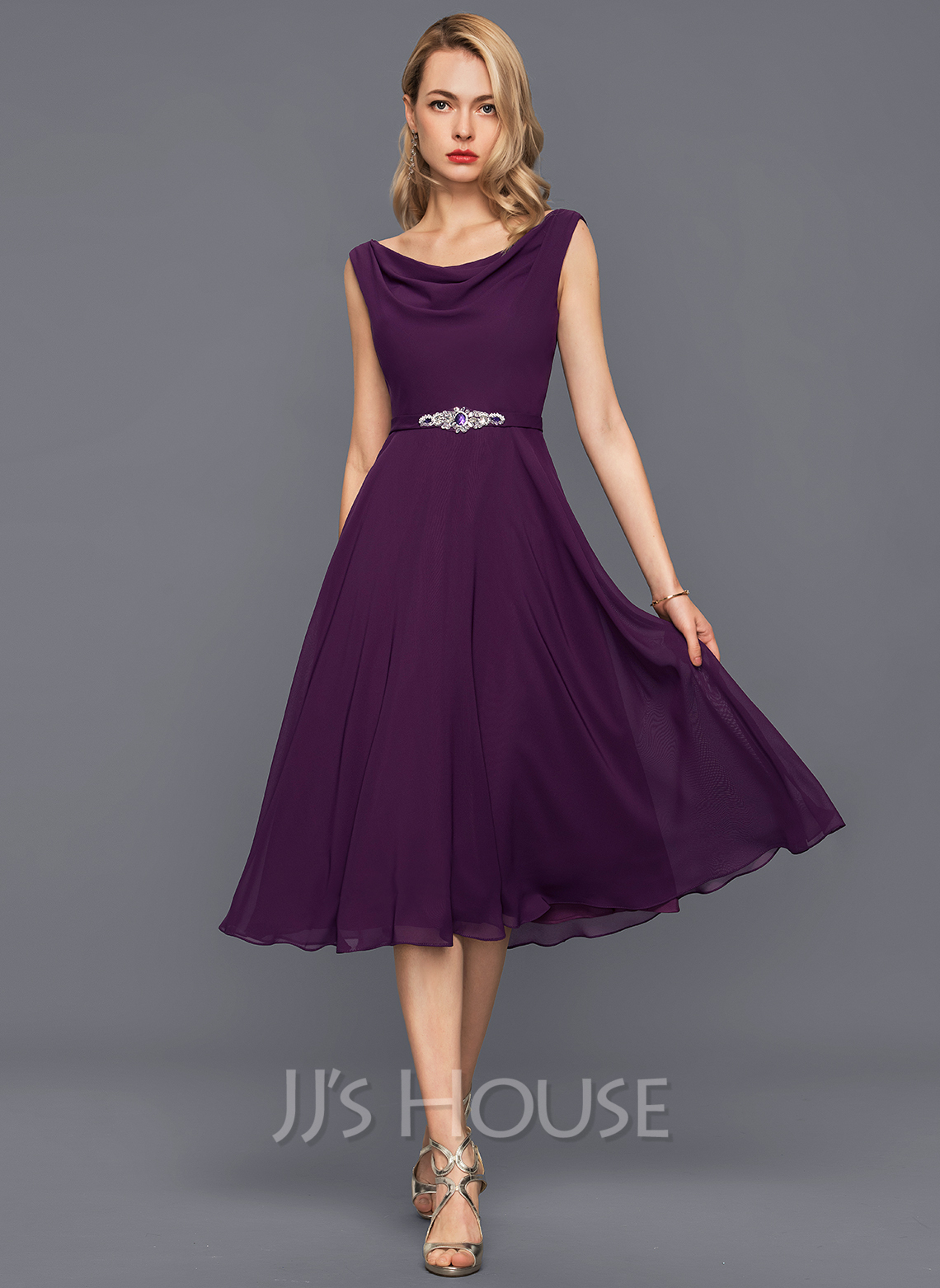 0378e6f68b43 A-Line Princess Cowl Neck Knee-Length Chiffon Cocktail Dress With Beading  Sequins. Loading zoom