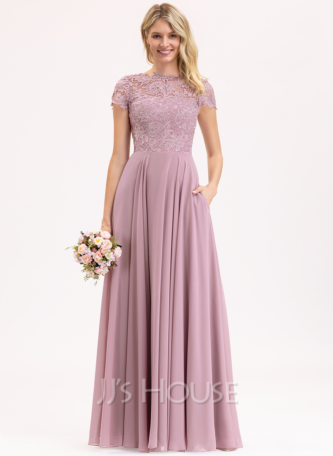 Scoop Neck Floor-Length Chiffon Lace Evening Dress With Pockets