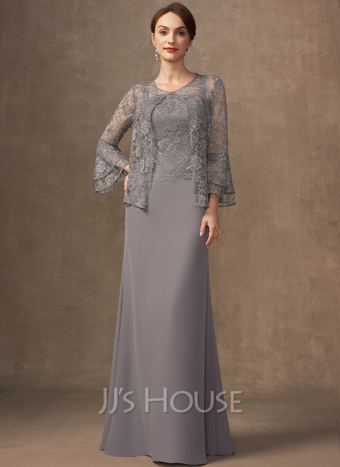 Sheath/Column Square Neckline Floor-Length Chiffon Lace Mother of the Bride Dress
