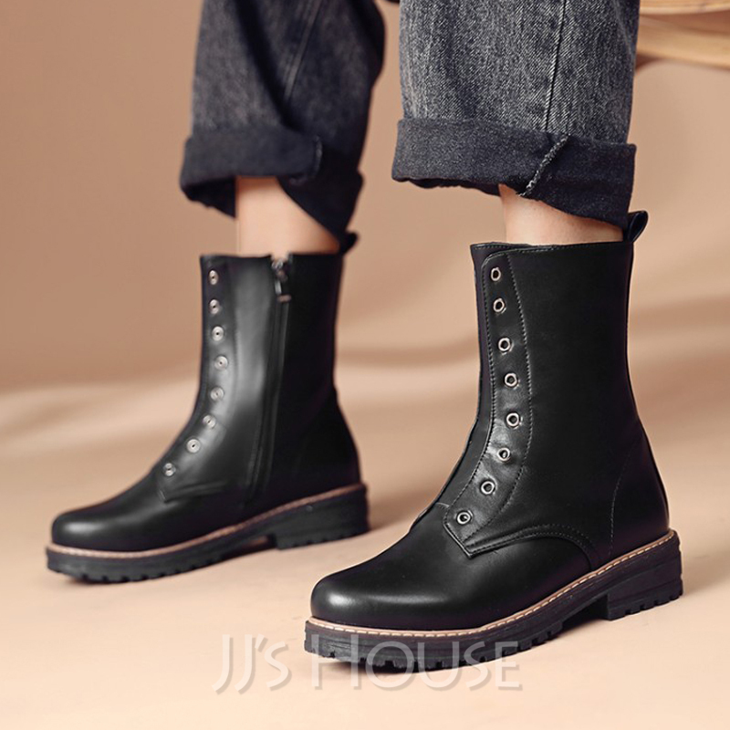 Women's Leatherette Flat Heel Ankle Boots Round Toe With Zipper shoes