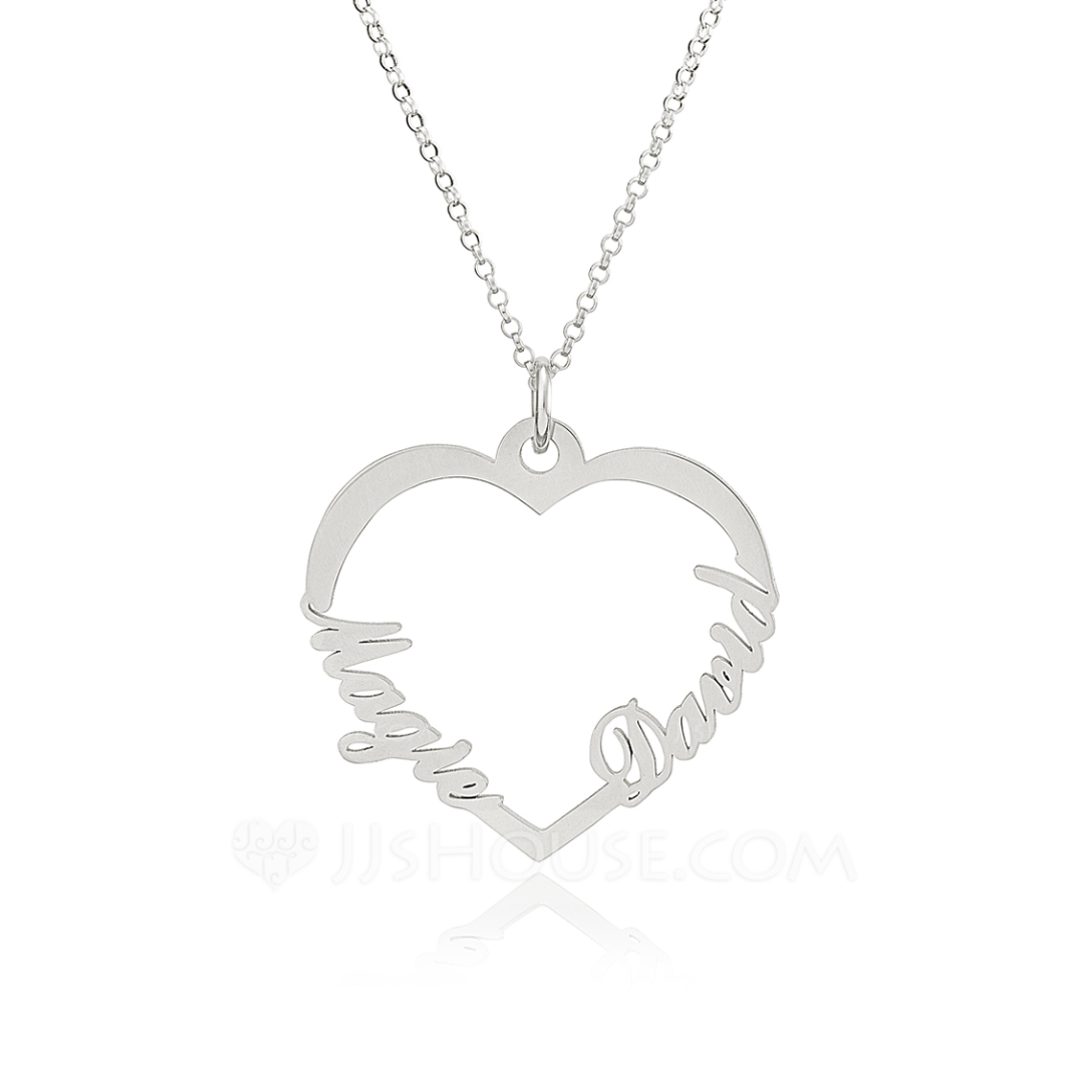 Custom Sterling Silver Two Name Necklace Heart Necklace - Birthday Gifts Mother's Day Gifts