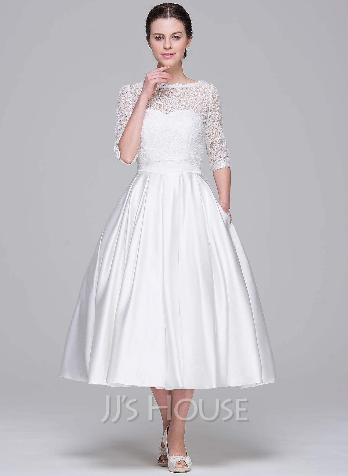5047ea2af8b3 Ball-Gown Sweetheart Tea-Length Satin Wedding Dress With Pockets. Loading  zoom