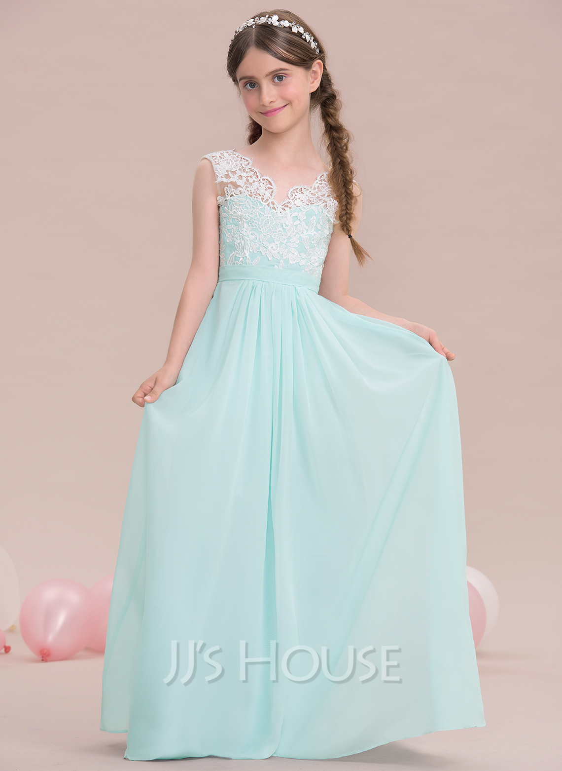 4301aab672d6 A-Line V-neck Floor-Length Chiffon Junior Bridesmaid Dress. Loading zoom