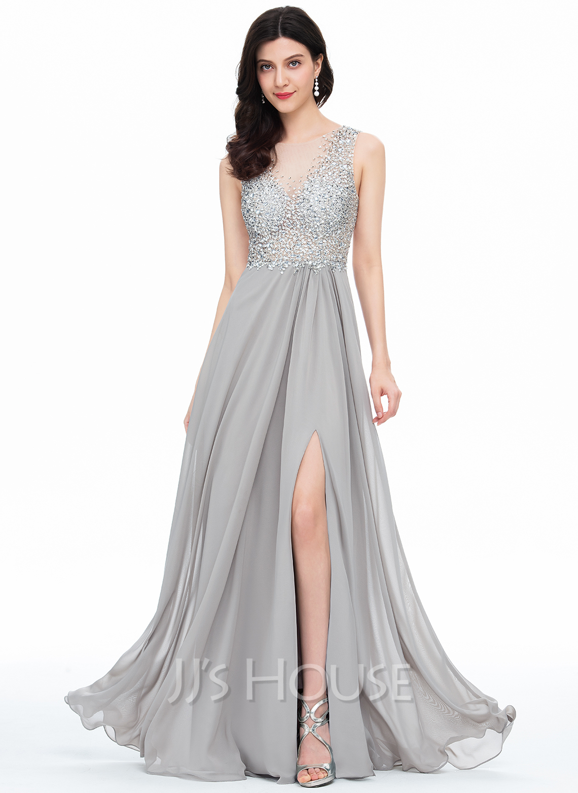 307ccd09df4 A-Line Princess Scoop Neck Floor-Length Chiffon Prom Dresses With Beading  Sequins. Loading zoom