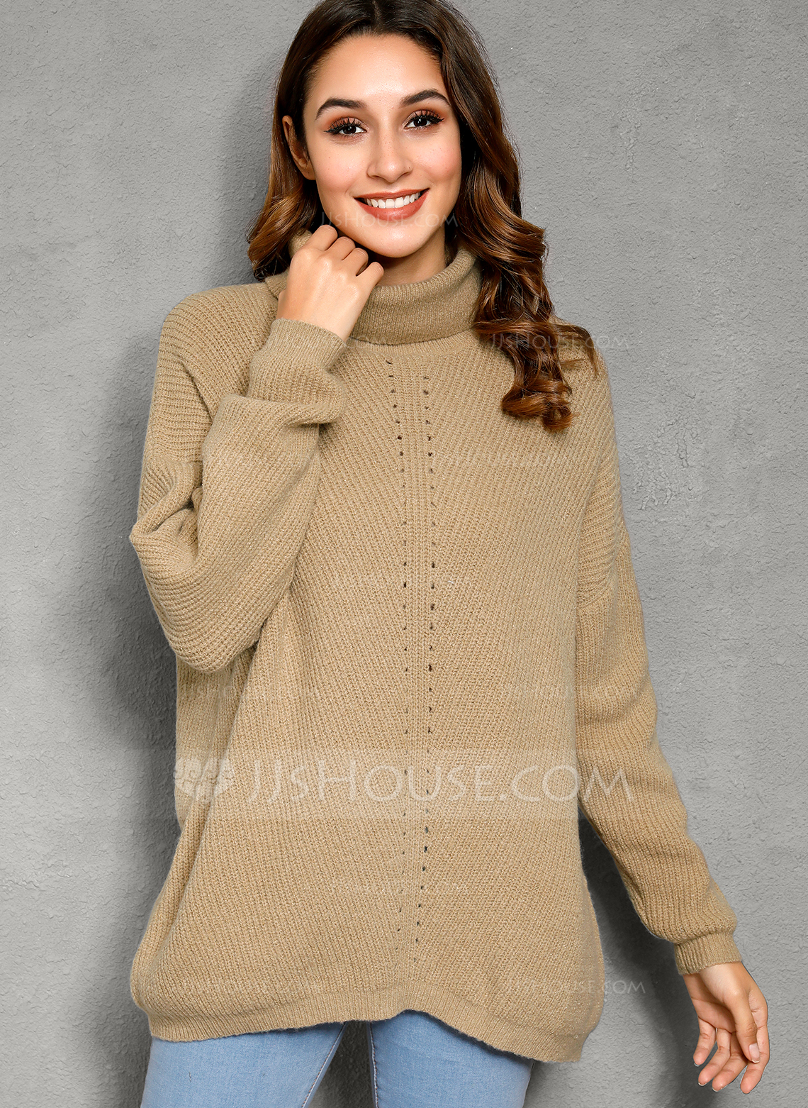 Cable-knit Solid Polyester Turtleneck Pullovers Sweaters