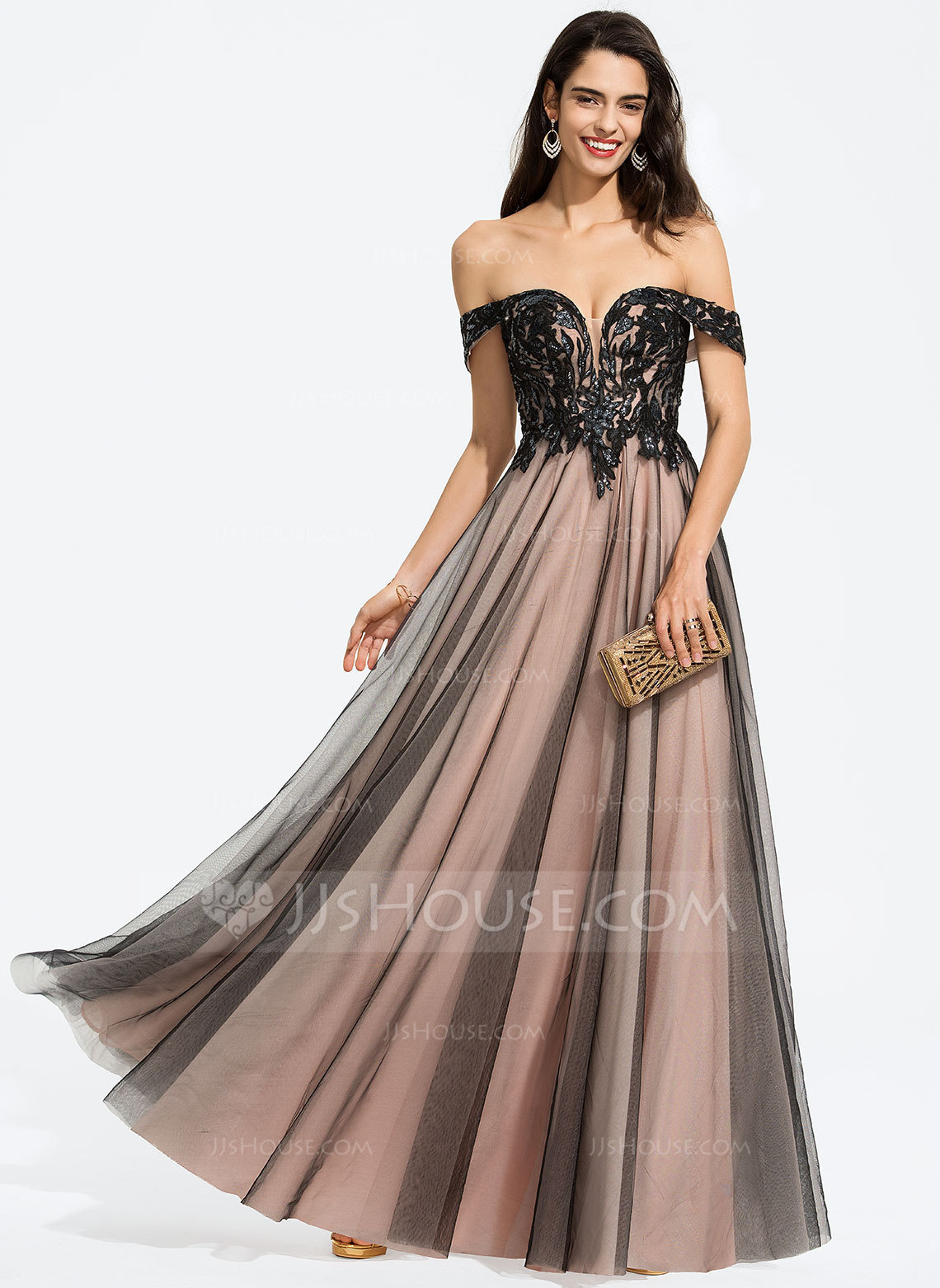 2056a424006 A-Line Off-the-Shoulder Floor-Length Tulle Prom Dresses With Sequins.  Loading zoom