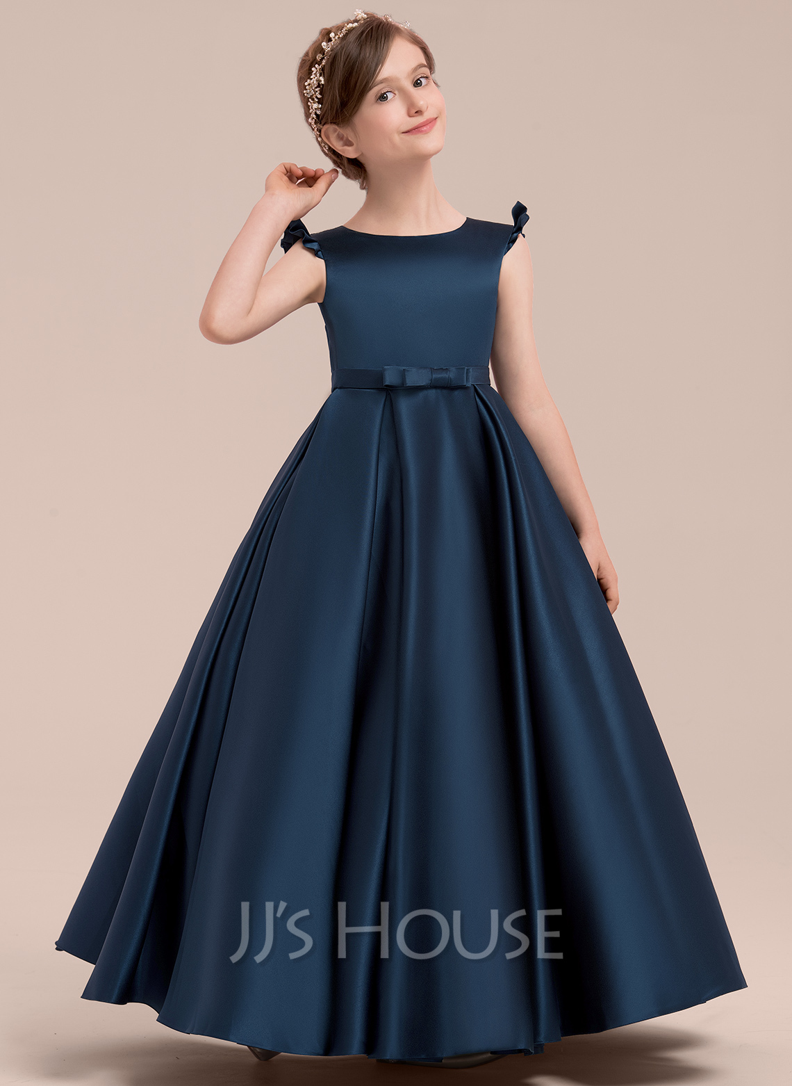 Floor-length Flower Girl Dress - Satin Sleeveless Scoop Neck With Bow(s)