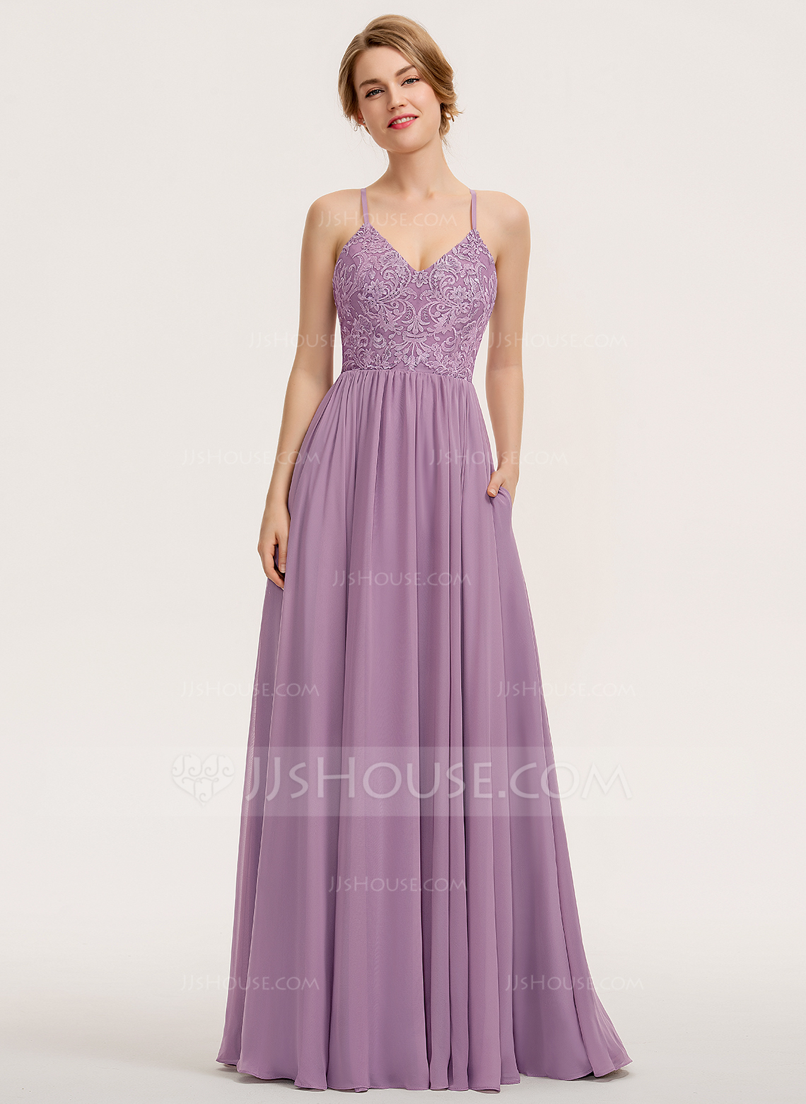 A-Line Sweetheart Floor-Length Chiffon Lace Bridesmaid Dress With Pockets