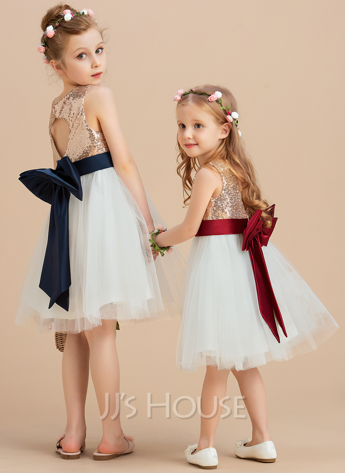 A-Line Knee-length Flower Girl Dress - Satin/Tulle/Sequined Sleeveless Scoop Neck With Sequins/Bow(s) (Undetachable sash)