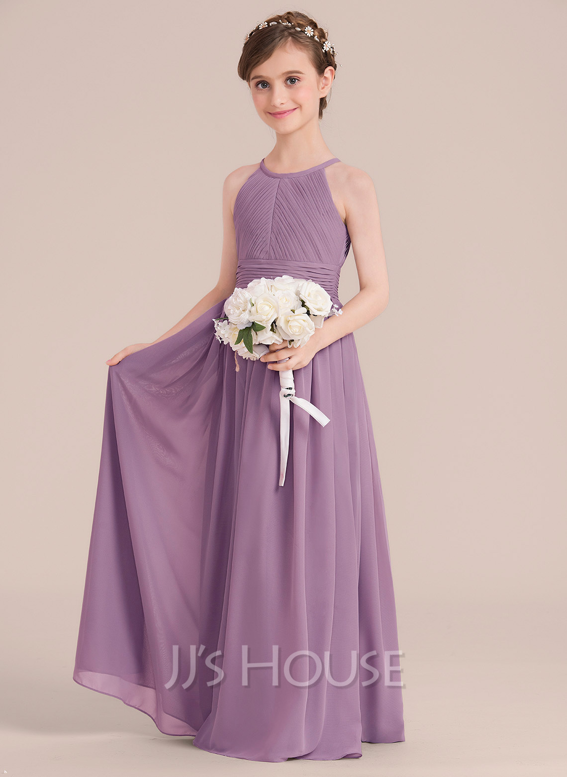 Floor-length Flower Girl Dress - Chiffon Sleeveless Scoop Neck With Ruffles