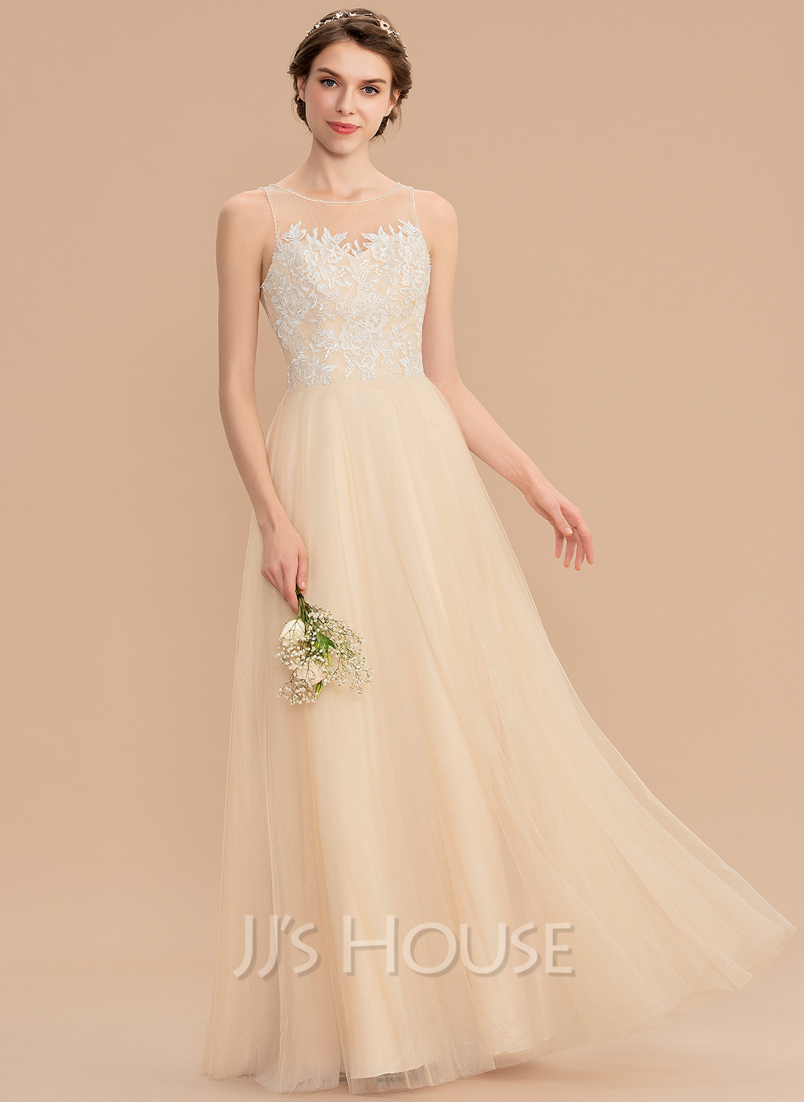 Scoop Neck Floor-Length Tulle Lace Bridesmaid Dress