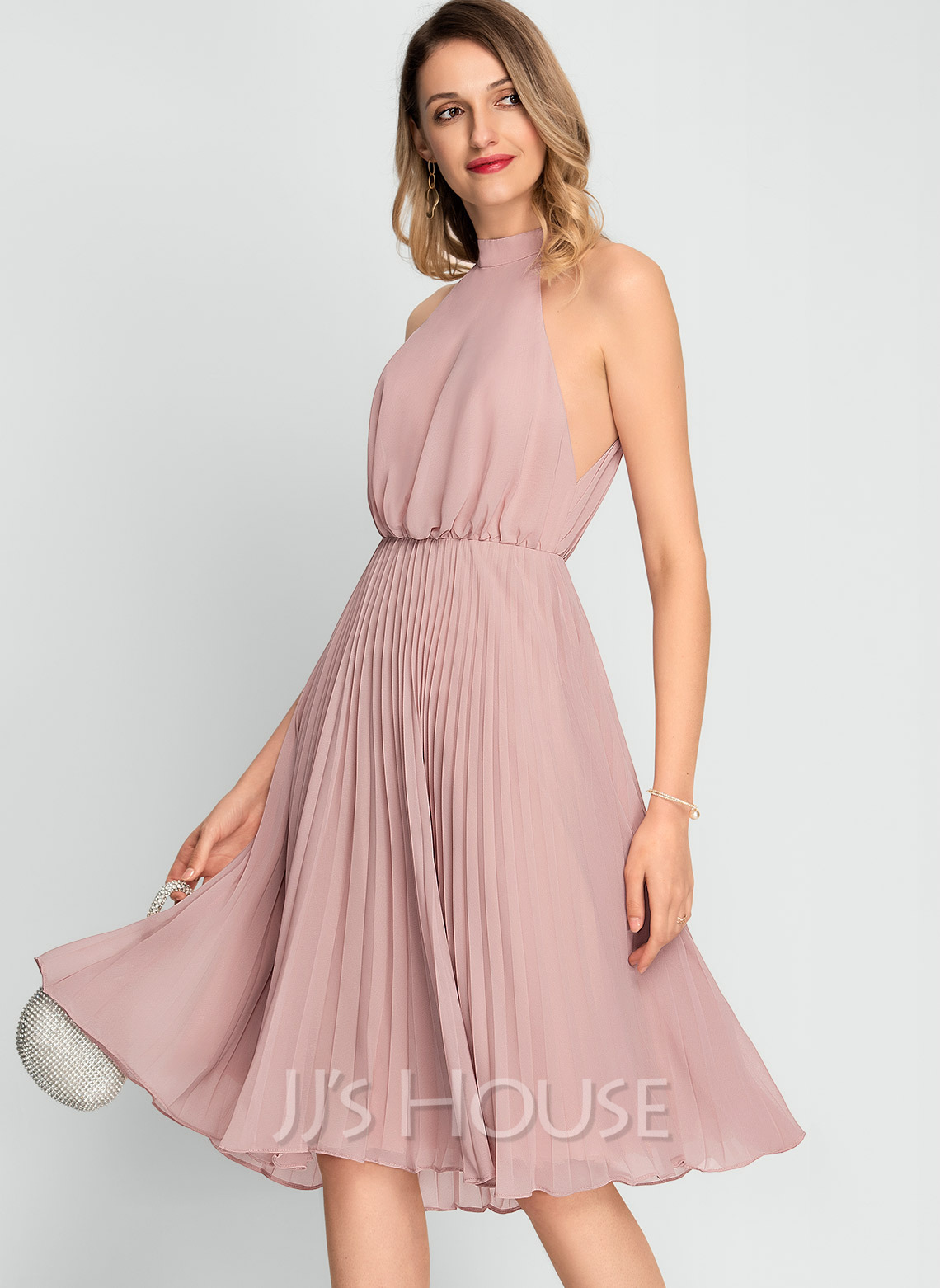 High Neck Sleeveless Midi Dresses