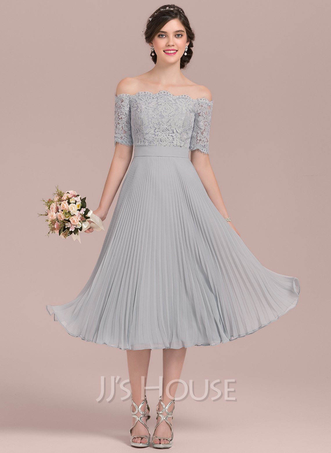 Off-the-Shoulder Tea-Length Chiffon Lace Bridesmaid Dress With Bow(s) Pleated