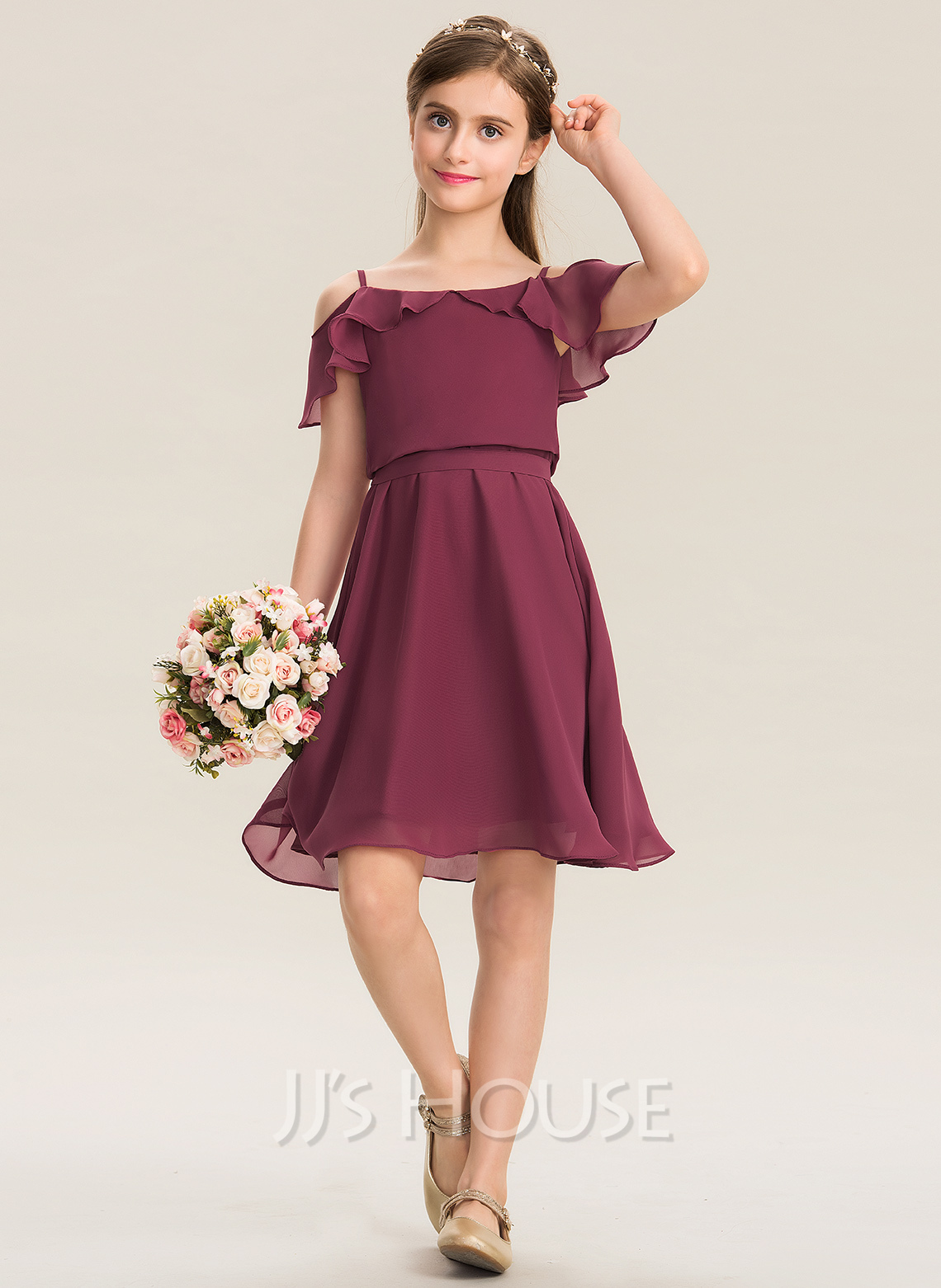 9519102cb4b A-Line Square Neckline Knee-Length Chiffon Junior Bridesmaid Dress With  Bow(s) Cascading Ruffles  173277