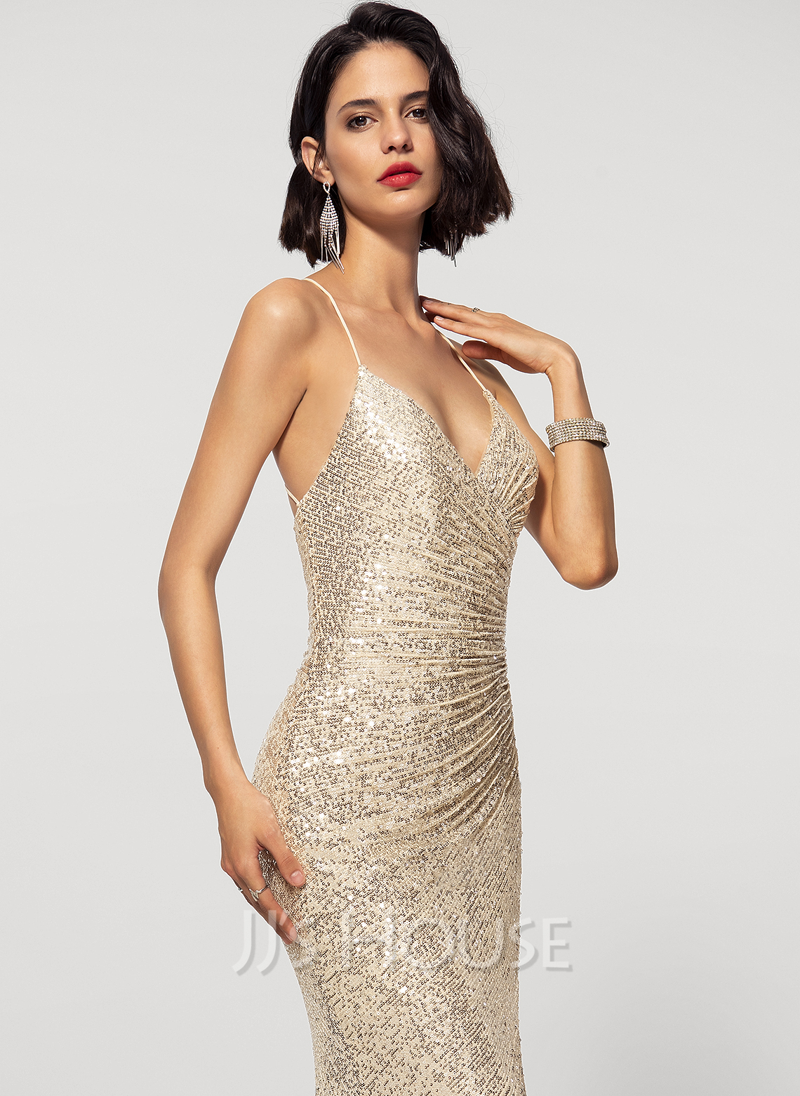 Trumpet/Mermaid V-neck Sweep Train Sequined Evening Dress With Split Front