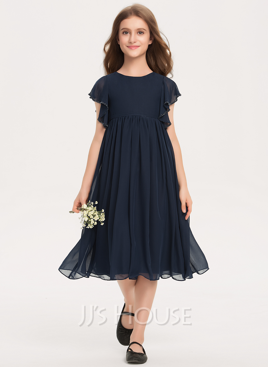 Scoop Neck Knee-Length Chiffon Junior Bridesmaid Dress With Beading