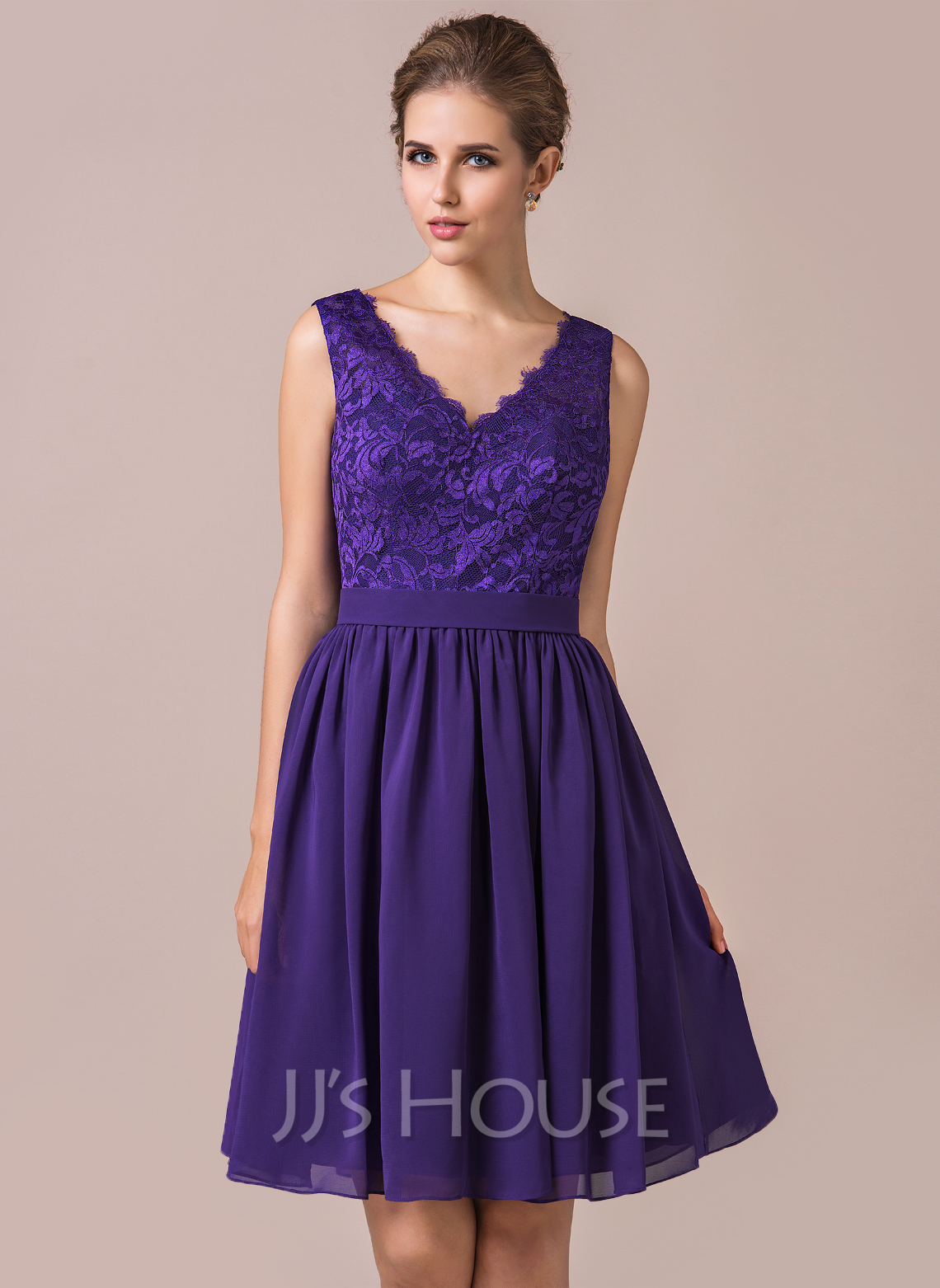 3dbe6cc152 A-Line Princess V-neck Knee-Length Chiffon Lace Bridesmaid Dress. Loading  zoom