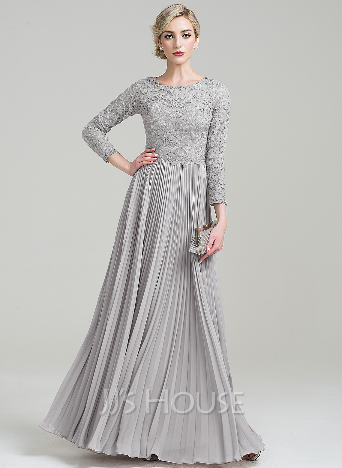 Scoop Neck Floor-Length Chiffon Lace Mother of the Bride Dress With Pleated