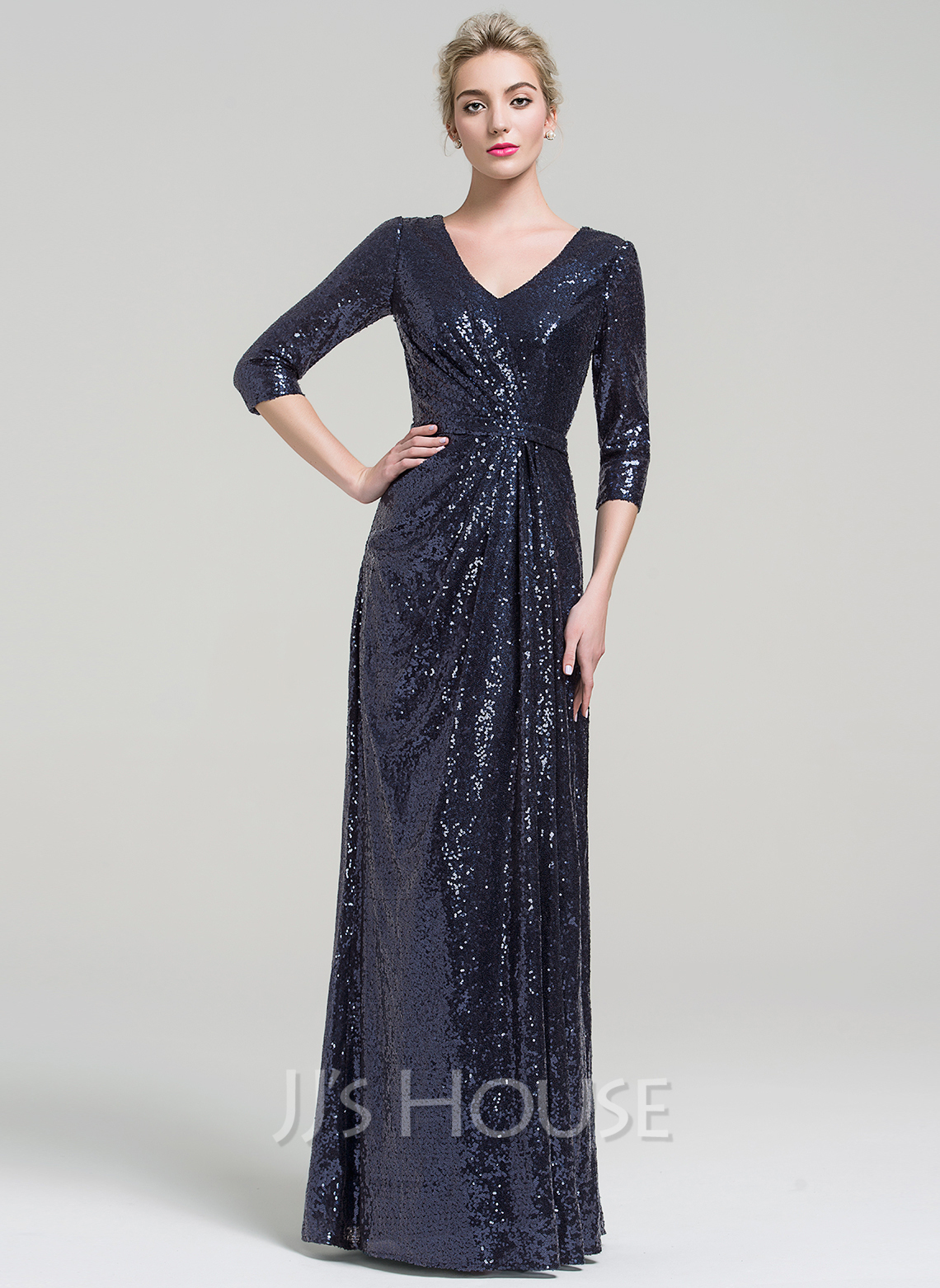 Sheath/Column V-neck Floor-Length Sequined Evening Dress ...