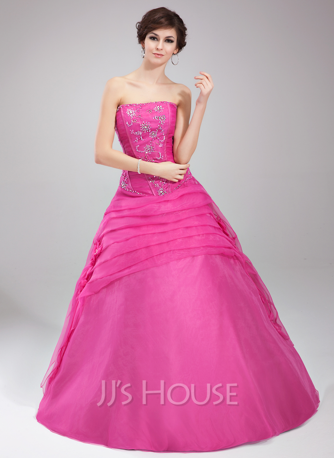 2e2edfeb3c Ball-Gown Strapless Floor-Length Organza Quinceanera Dress With Ruffle  Beading Flower(s. Loading zoom