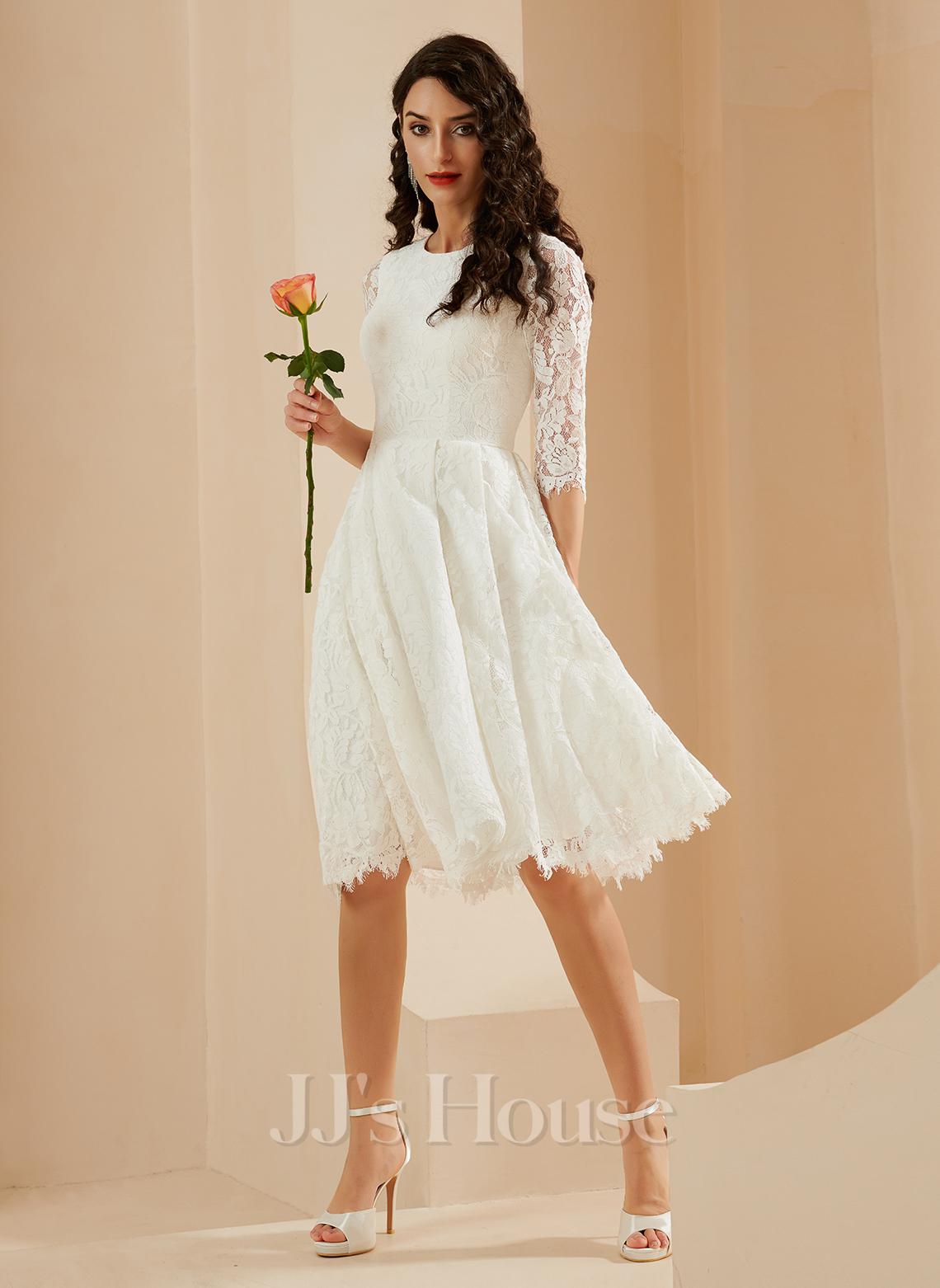 A-Line Knee-Length Wedding Dress