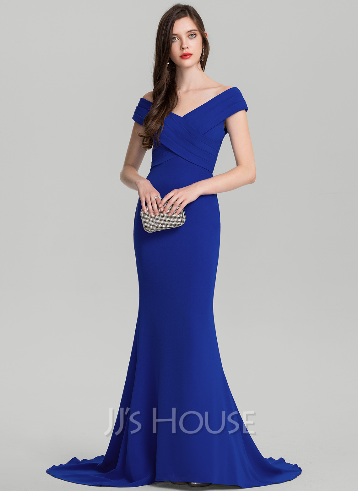 f7cbb3c11 Trumpet Mermaid Off-the-Shoulder Sweep Train Stretch Crepe Evening Dress  With Ruffle. Loading zoom