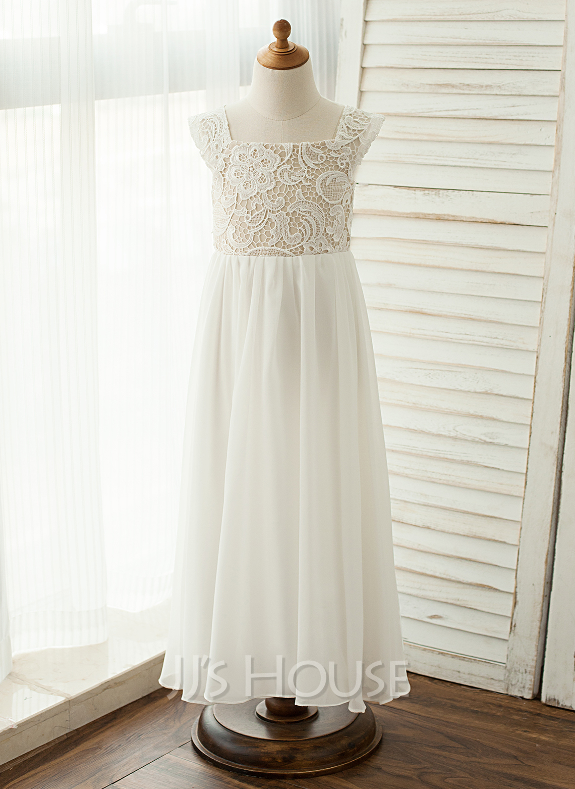 Floor-length Flower Girl Dress - Chiffon Lace Sleeveless Square Neckline With Lace Appliques