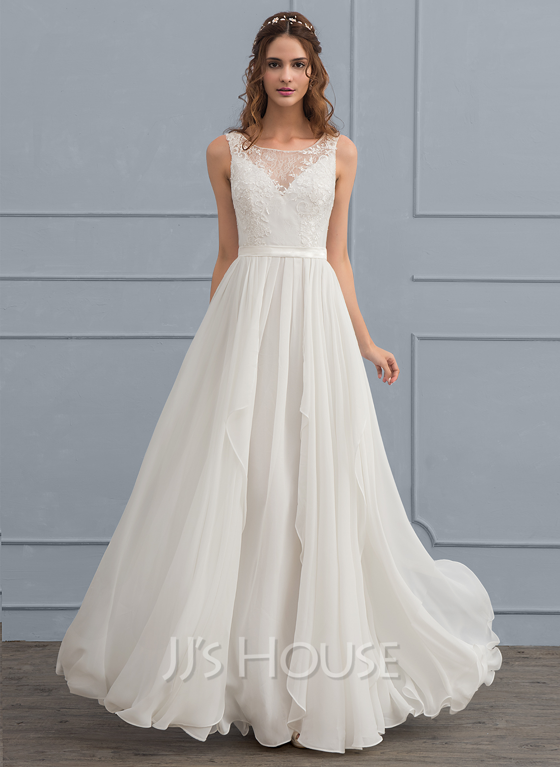 A line princess scoop neck floor length chiffon wedding for Picture of a wedding dress