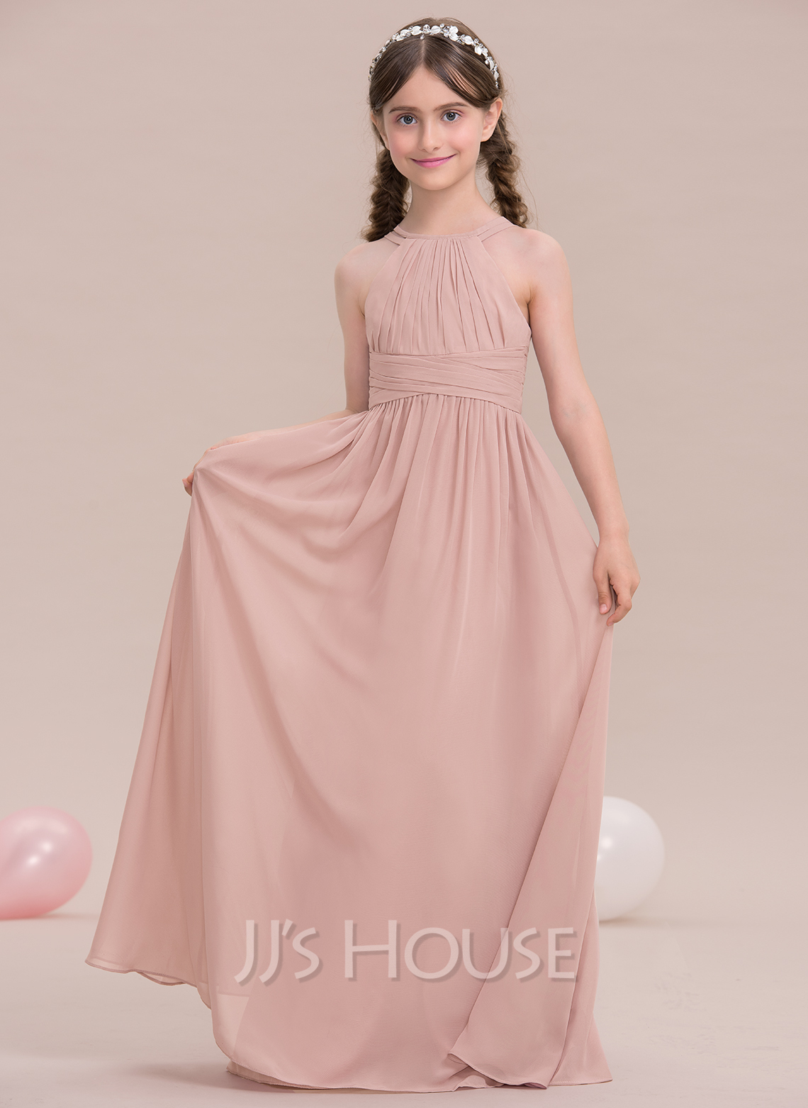 ALinePrincess Scoop Neck FloorLength Chiffon Junior Bridesmaid