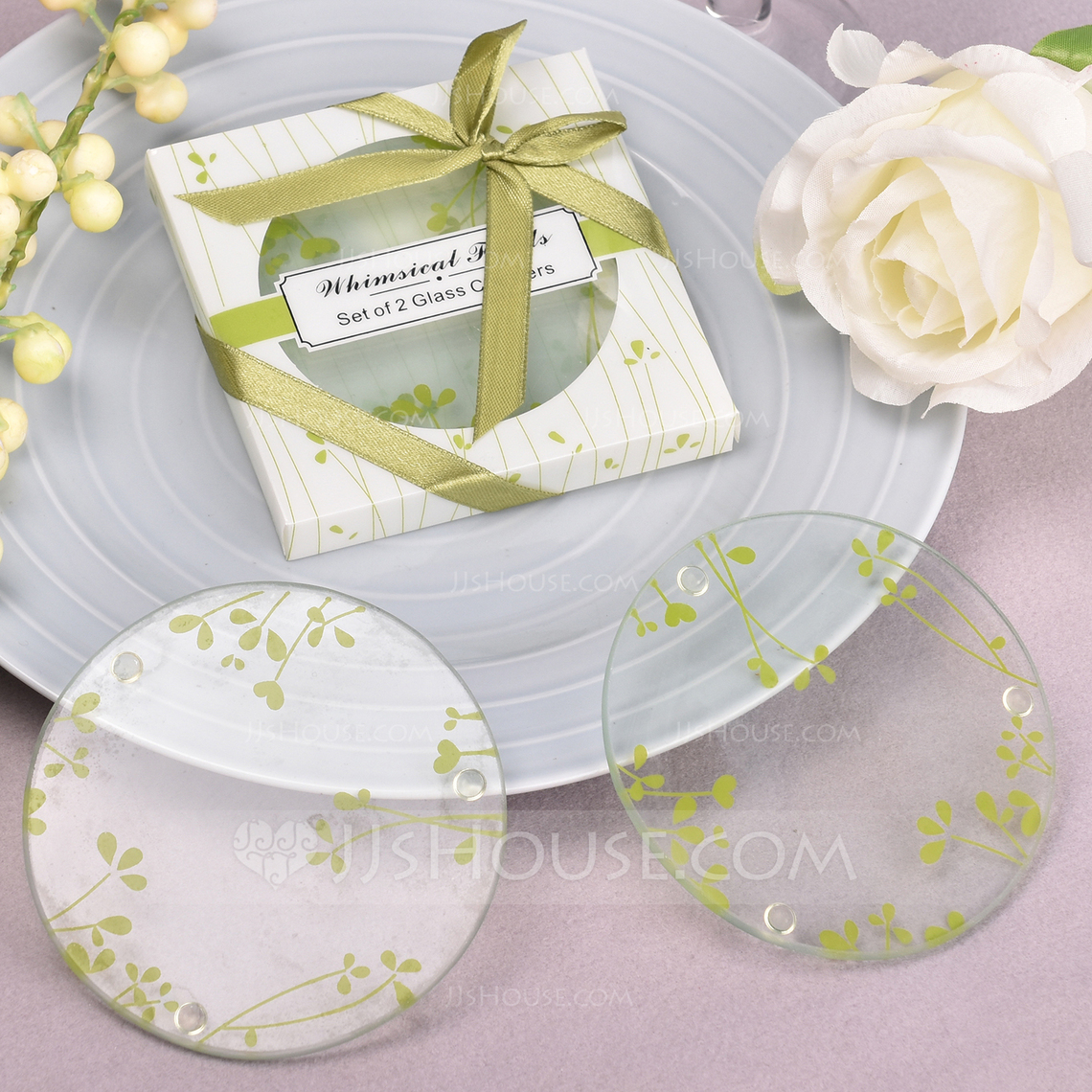 Round Glass Coaster (Set of 2) (051124516) - Practical Favors - JJsHouse