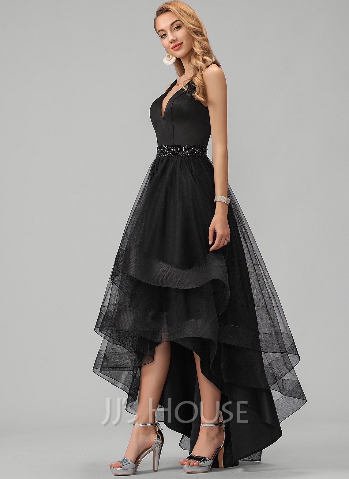 Asymmetrical Tulle Evening Dress