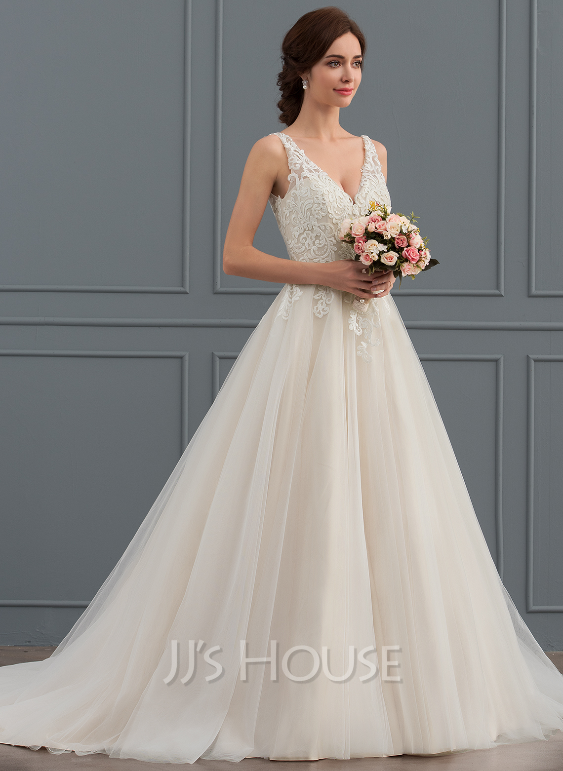 Ball Gown V Neck Court Train Tulle Wedding Dress Loading Zoom