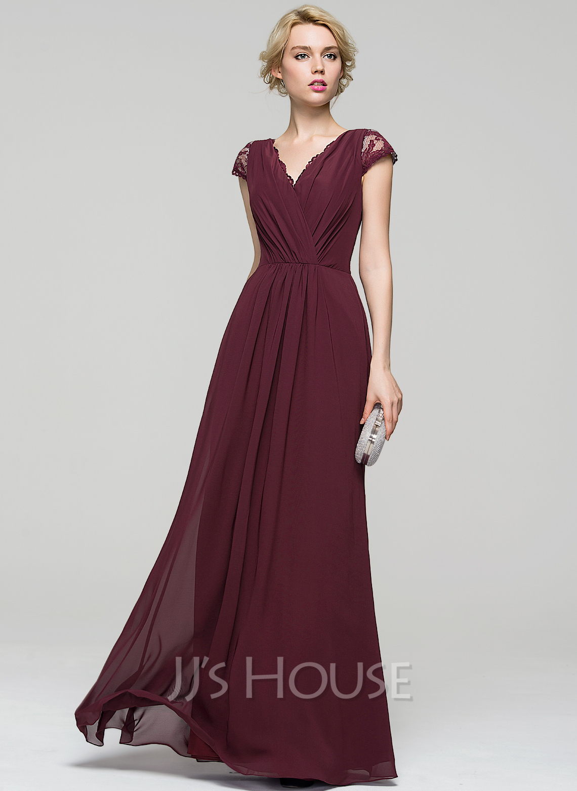 A Line Princess V Neck Floor Length Chiffon Evening Dress