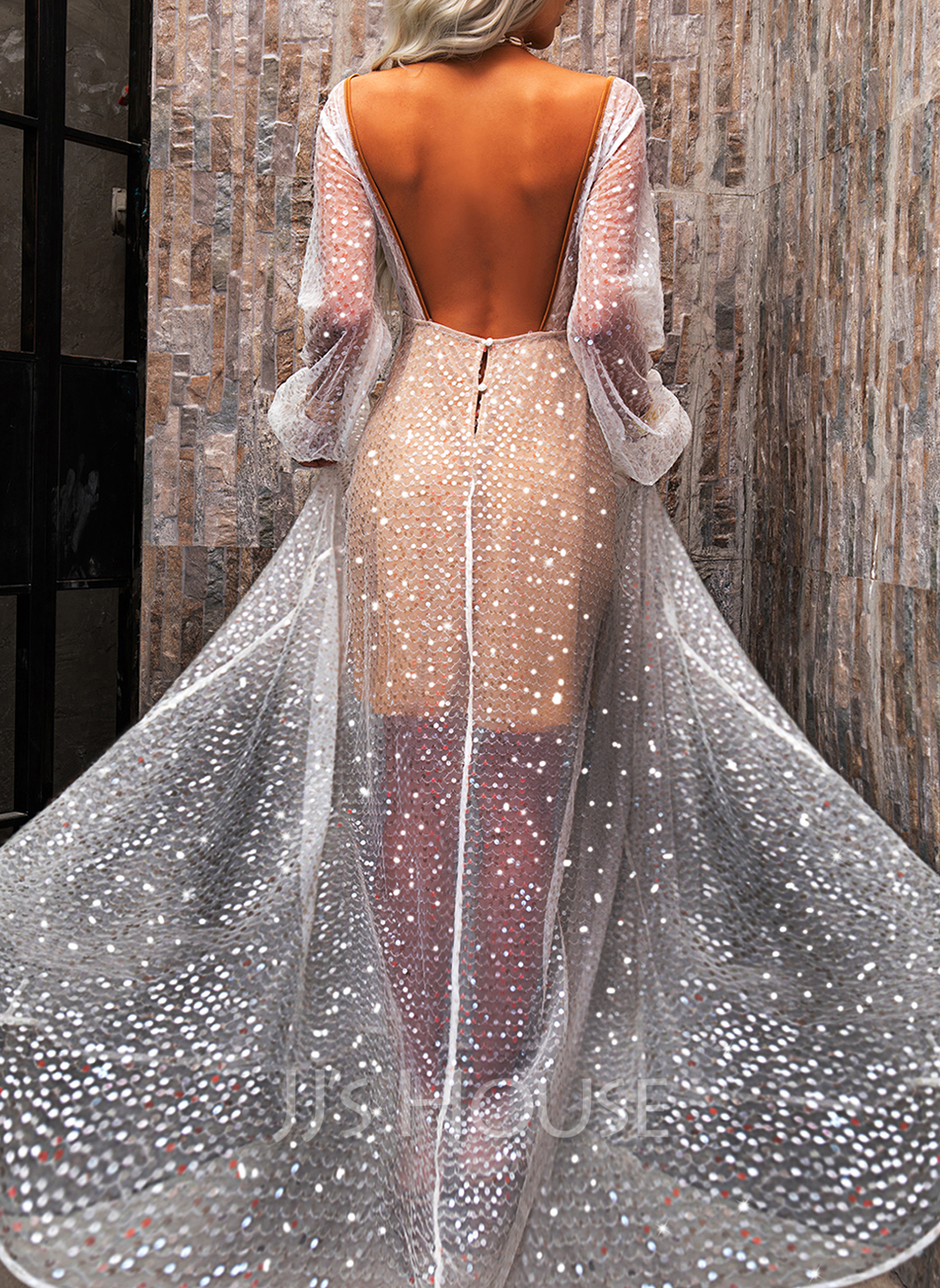 Sequins Backless A-line V-Neck Long Sleeves Maxi Party Sexy Skater Dresses