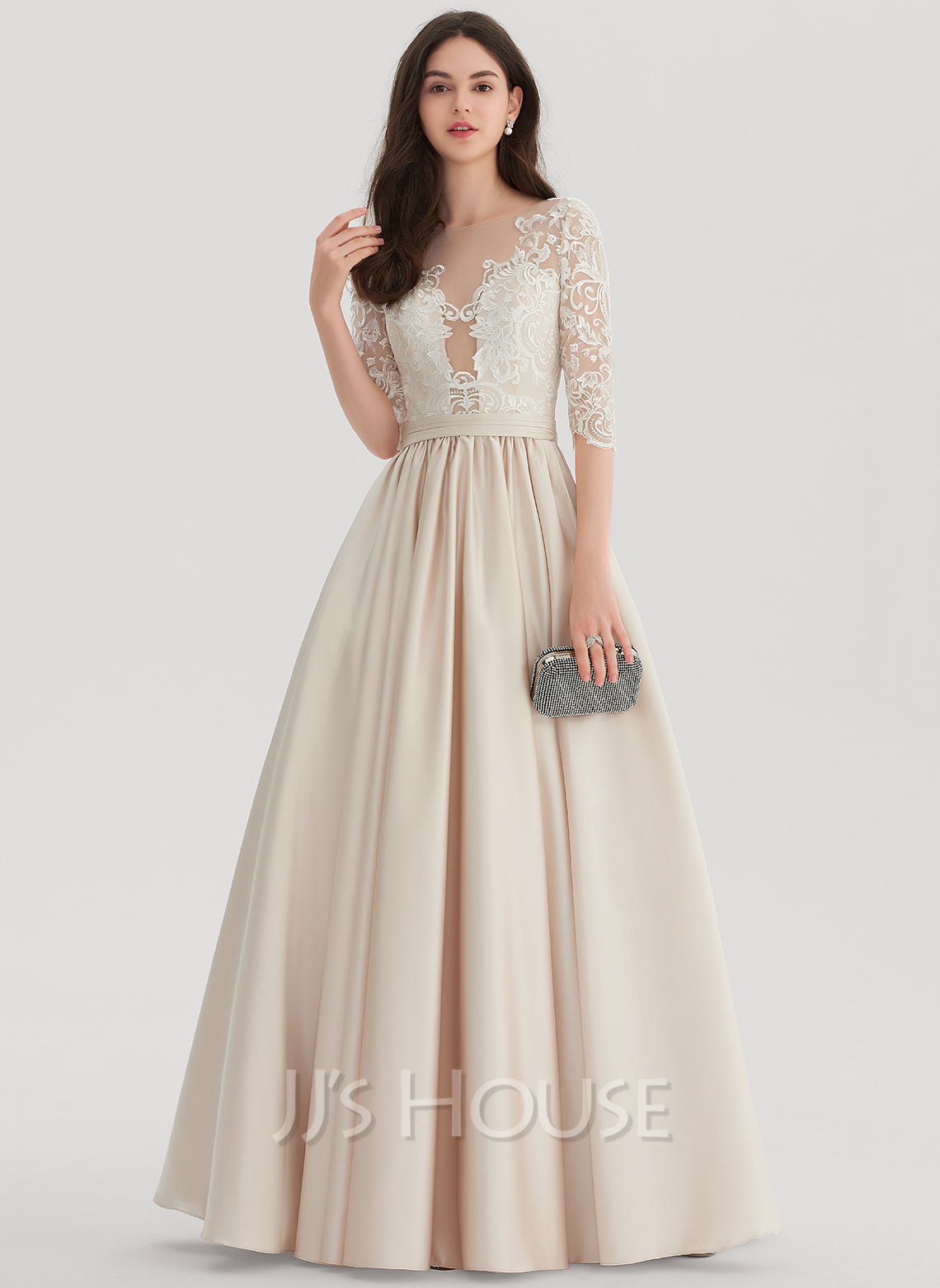 Ball-Gown Scoop Neck Floor-Length Satin Evening Dress (017153395 ...