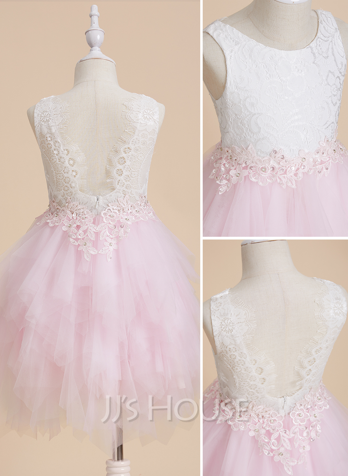 Ball-Gown/Princess Knee-length Flower Girl Dress - Tulle/Lace Sleeveless Scoop Neck With Lace/Beading/Sequins/V Back