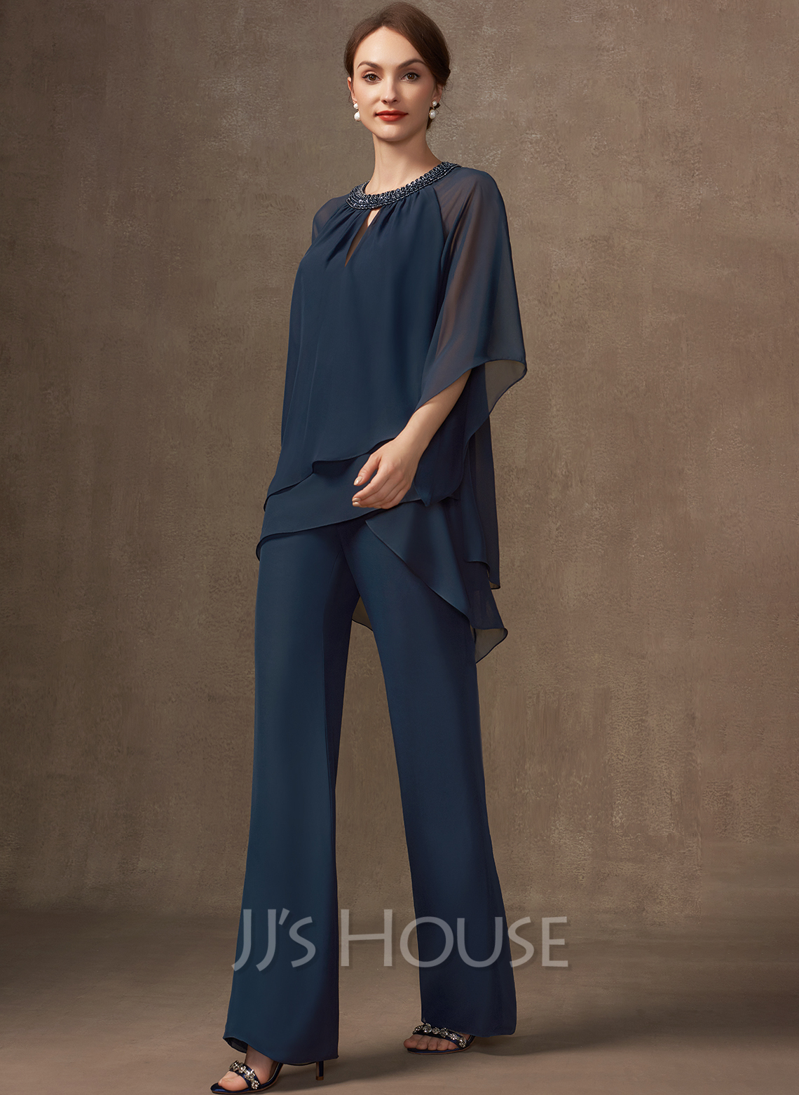 Jumpsuit/Pantsuit Scoop Neck Chiffon Mother of the Bride Dress With Beading Sequins