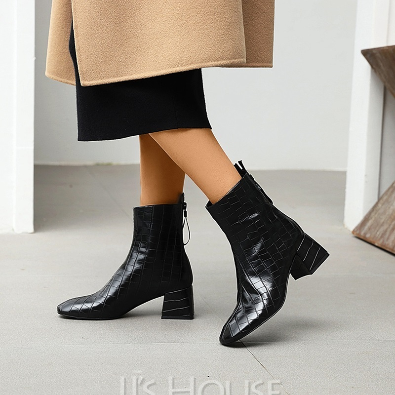 Women's Patent Leather Low Heel Boots Square Toe With Animal Print Zipper Solid Color shoes
