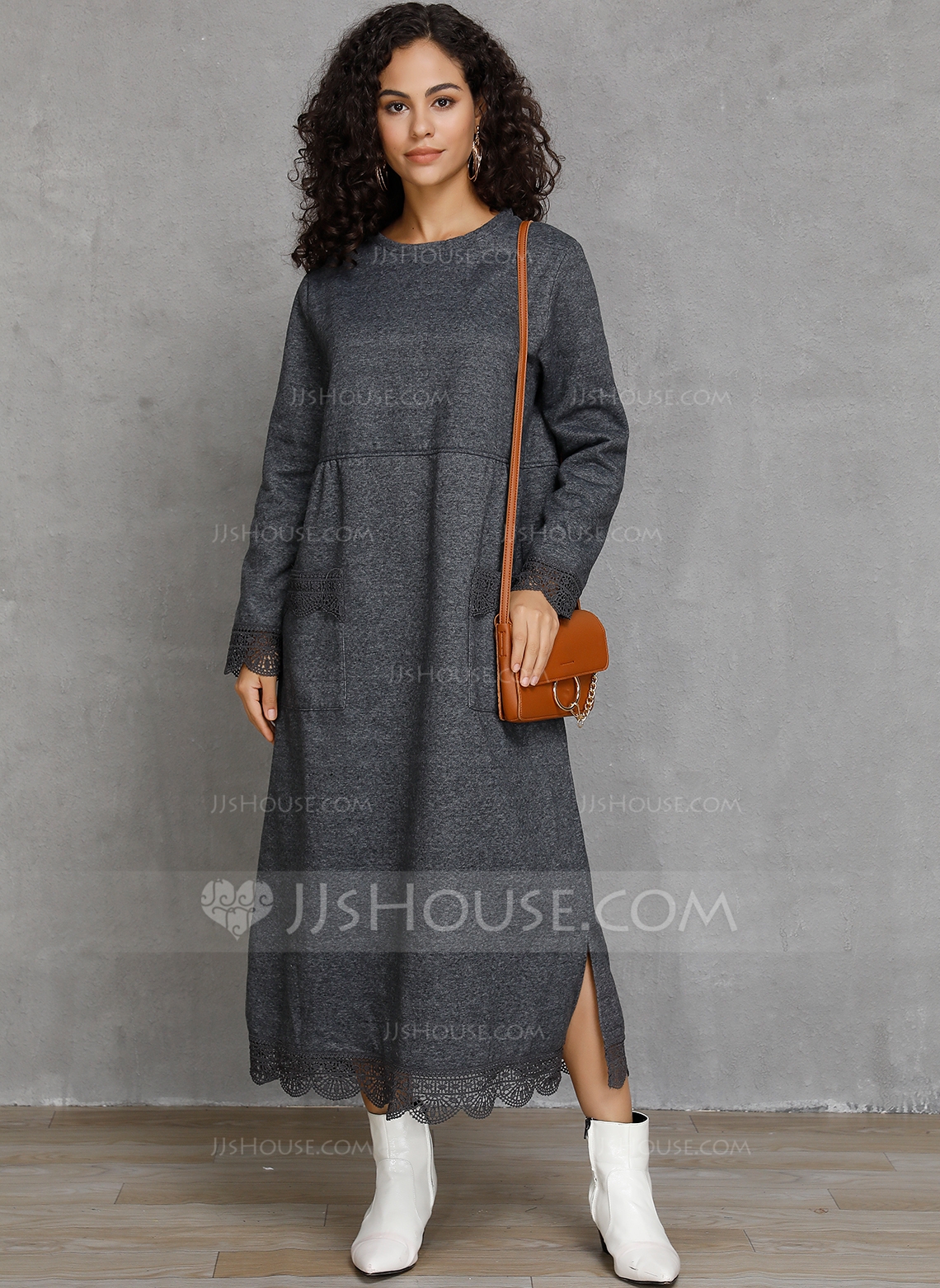 Cotton Blends With Solid Maxi Dress