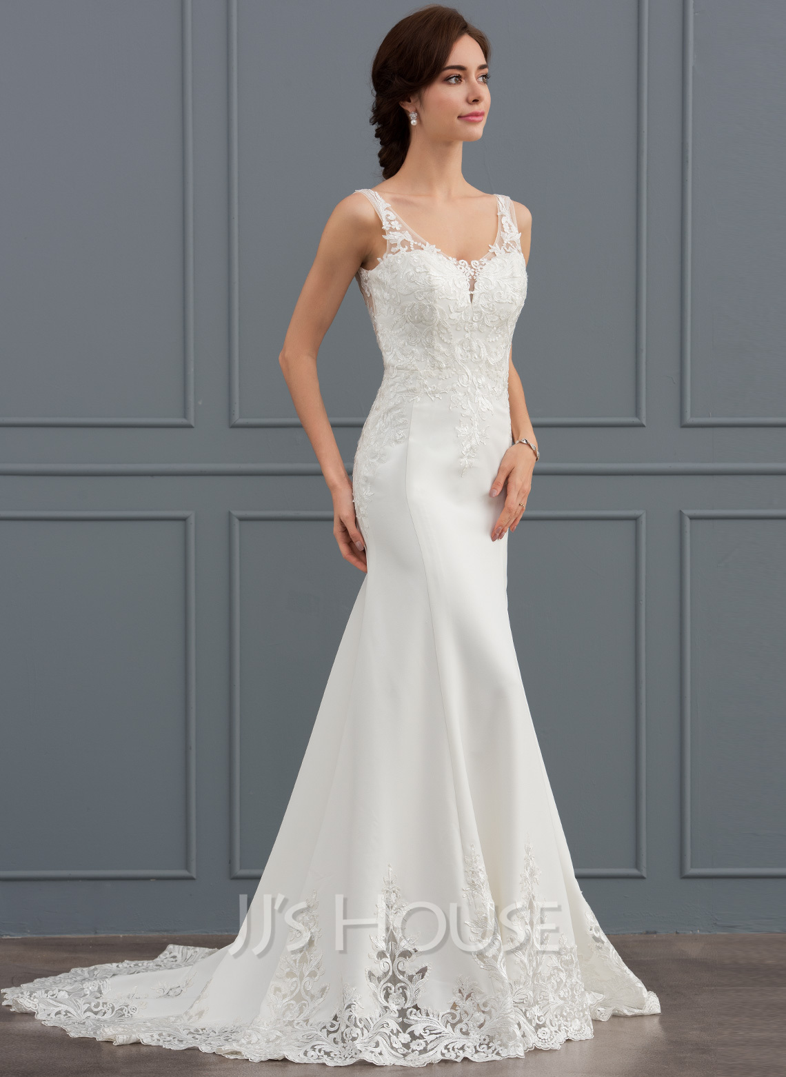 Sheath column v neck court train satin lace wedding dress for V neck satin wedding dress
