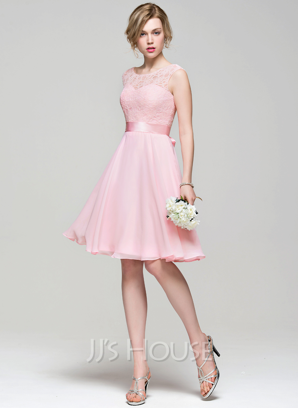 bd624391fb A-Line Princess Scoop Neck Knee-Length Chiffon Lace Bridesmaid Dress With  Bow. Loading zoom
